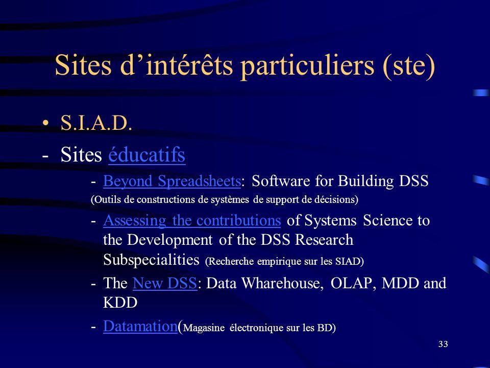 33 Sites dintérêts particuliers (ste) S.I.A.D.