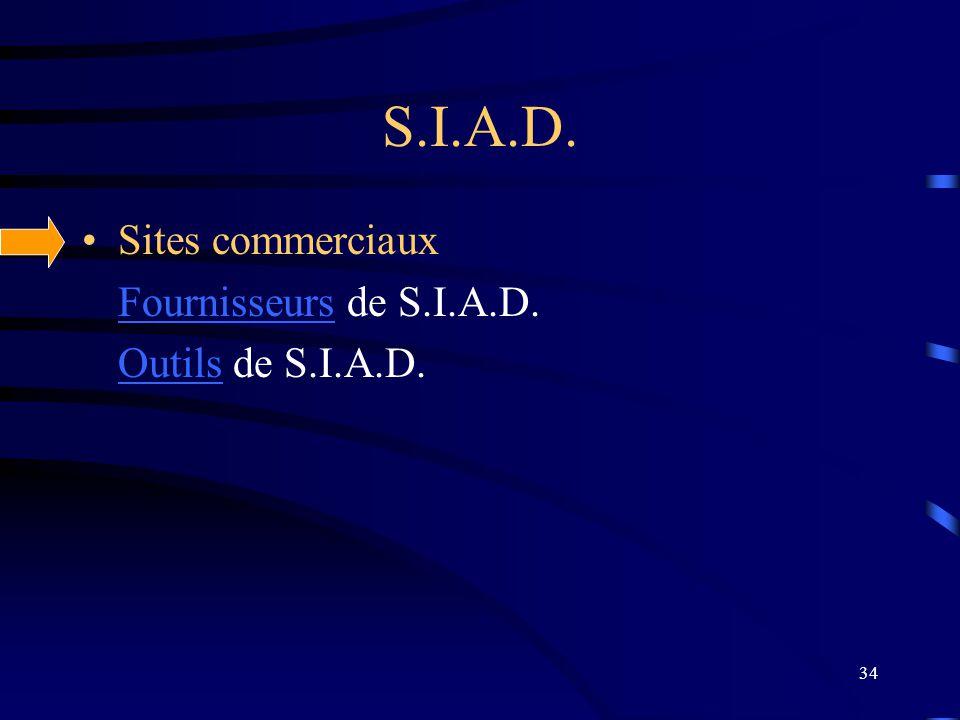 34 S.I.A.D. Sites commerciaux FournisseursFournisseurs de S.I.A.D. OutilsOutils de S.I.A.D.