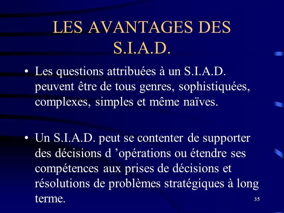 35 LES AVANTAGES DES S.I.A.D. Les questions attribuées à un S.I.A.D. peuvent être de tous genres, sophistiquées, complexes, simples et même naïves. Un