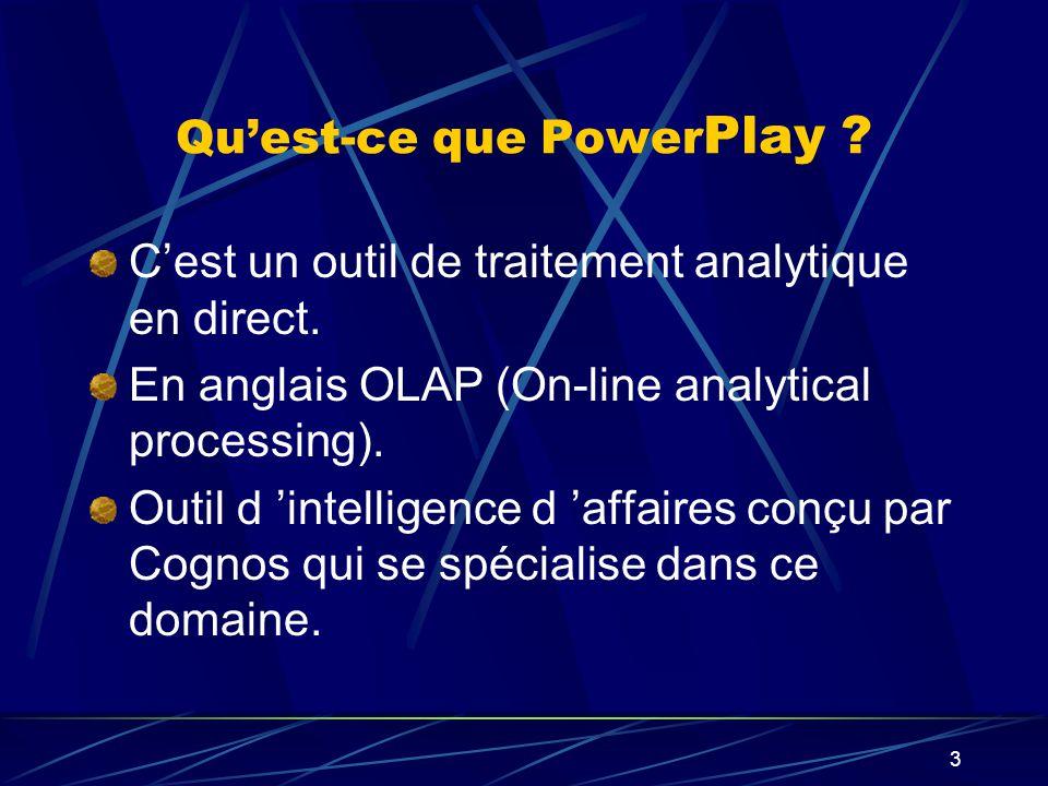 2 Plan de la présentation Notion de l Intelligence d Affaires (B.I) Définition des concepts des OLAP L architecture supportant les OLAP Le logiciel d