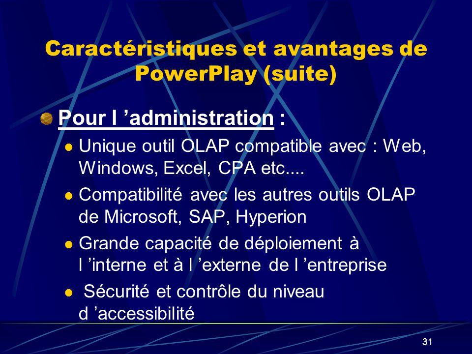 30 Caractéristiques et avantages de PowerPlay Pour l utilisateur : Facilité d exploration des données Capacité rédactionnelle Capacité d analyse et d