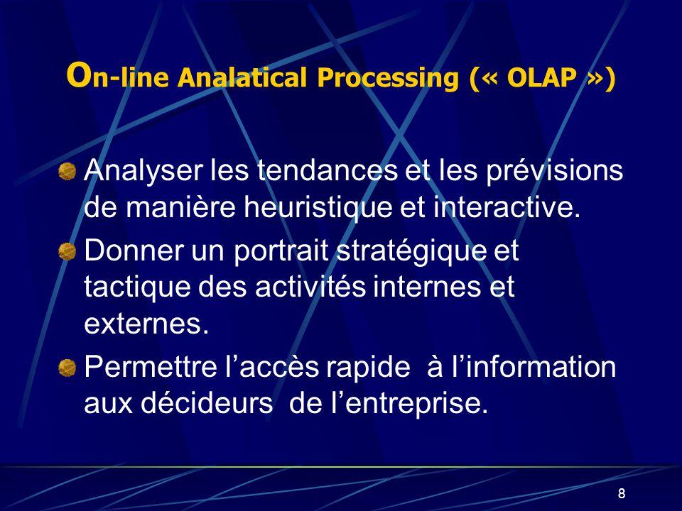 7 Fast Analysis of Shared Multidimensional Information O n-line Analatical Processing (« OLAP ») Nouvelle architecture de bases de données qui permet
