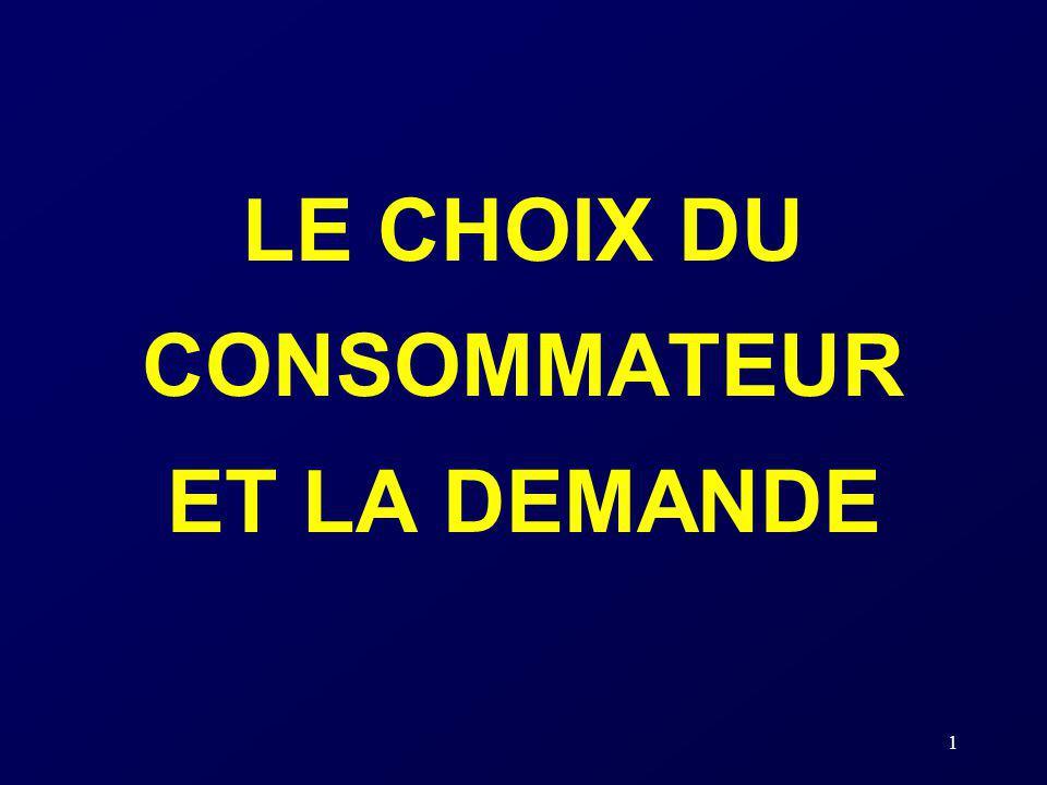 1 LE CHOIX DU CONSOMMATEUR ET LA DEMANDE