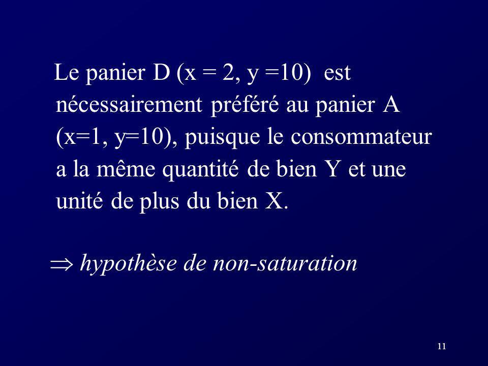 11 Le panier D (x = 2, y =10) est nécessairement préféré au panier A (x=1, y=10), puisque le consommateur a la même quantité de bien Y et une unité de
