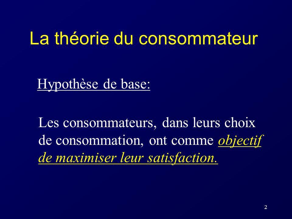 2 La théorie du consommateur Hypothèse de base: Les consommateurs, dans leurs choix de consommation, ont comme objectif de maximiser leur satisfaction