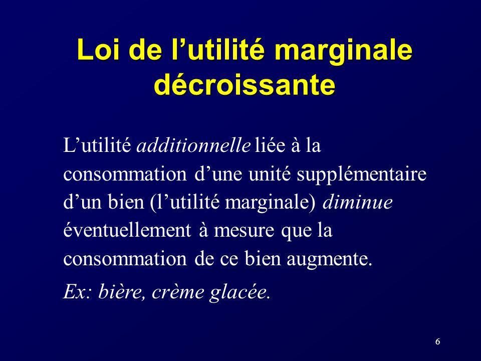 6 Loi de lutilité marginale décroissante Lutilité additionnelle liée à la consommation dune unité supplémentaire dun bien (lutilité marginale) diminue