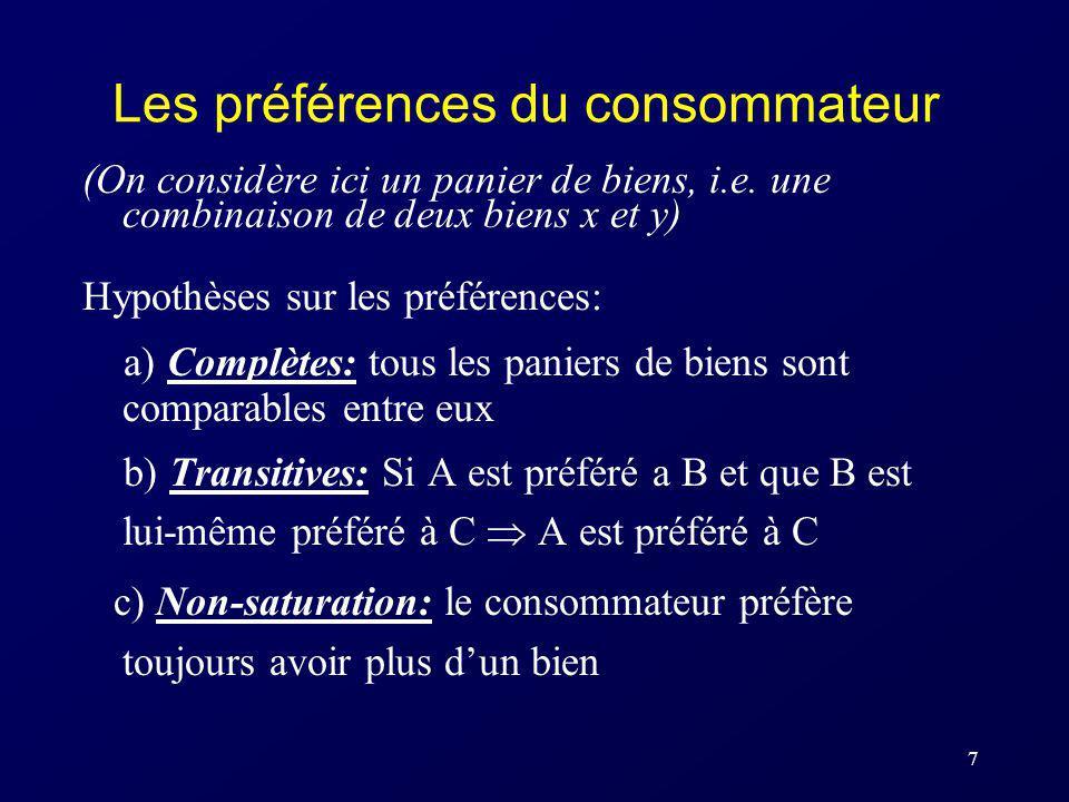 7 Les préférences du consommateur (On considère ici un panier de biens, i.e. une combinaison de deux biens x et y) Hypothèses sur les préférences: a)