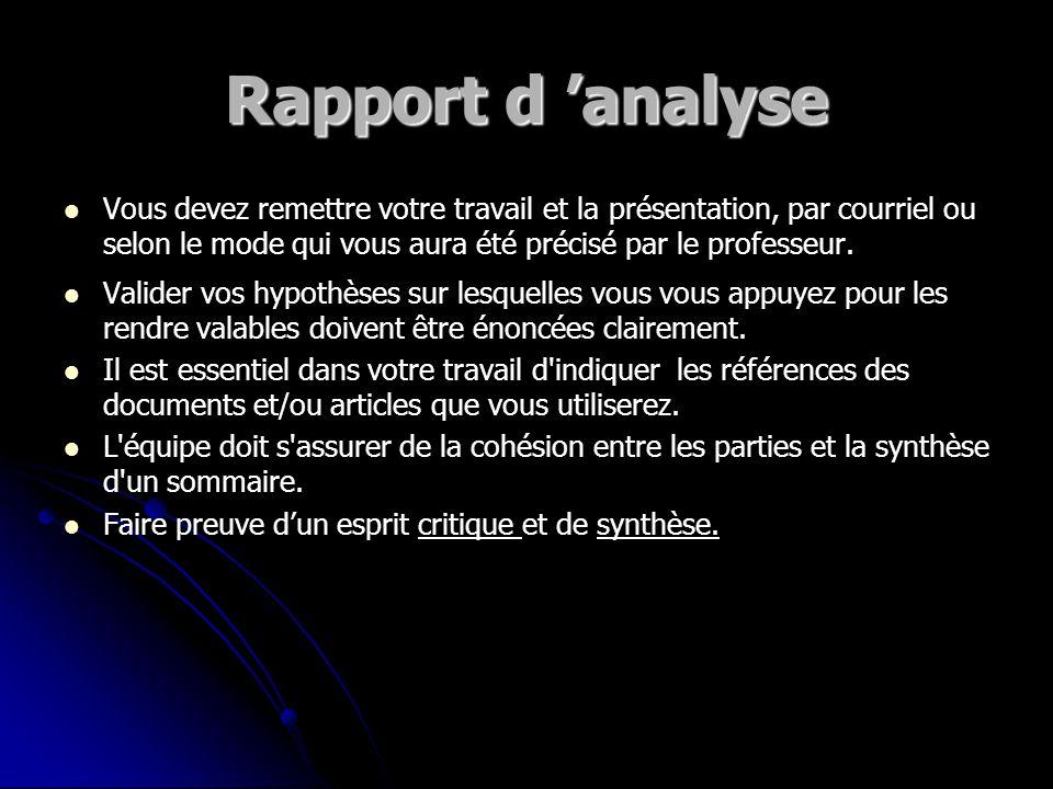 Déroulement de la séance... Rapport d analyse (travail en équipe) Rapport d analyse (travail en équipe) L analyse de l environnement: L analyse de l e