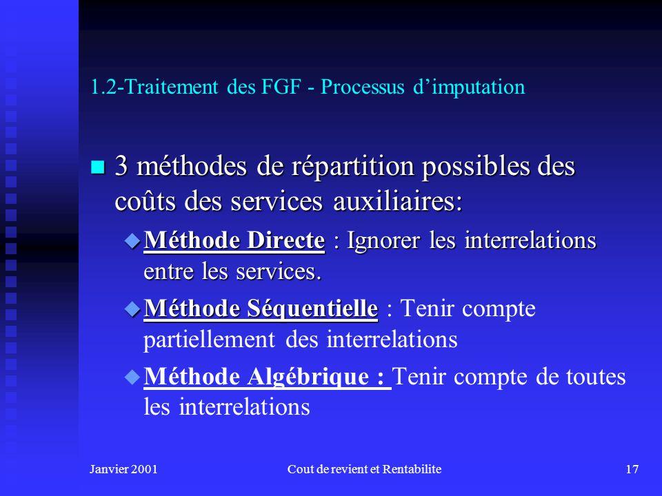 Janvier 2001Cout de revient et Rentabilite16 1.2-Traitement des FGF - Processus dimputation n 3e étape : Répartition des coûts des services auxiliaire