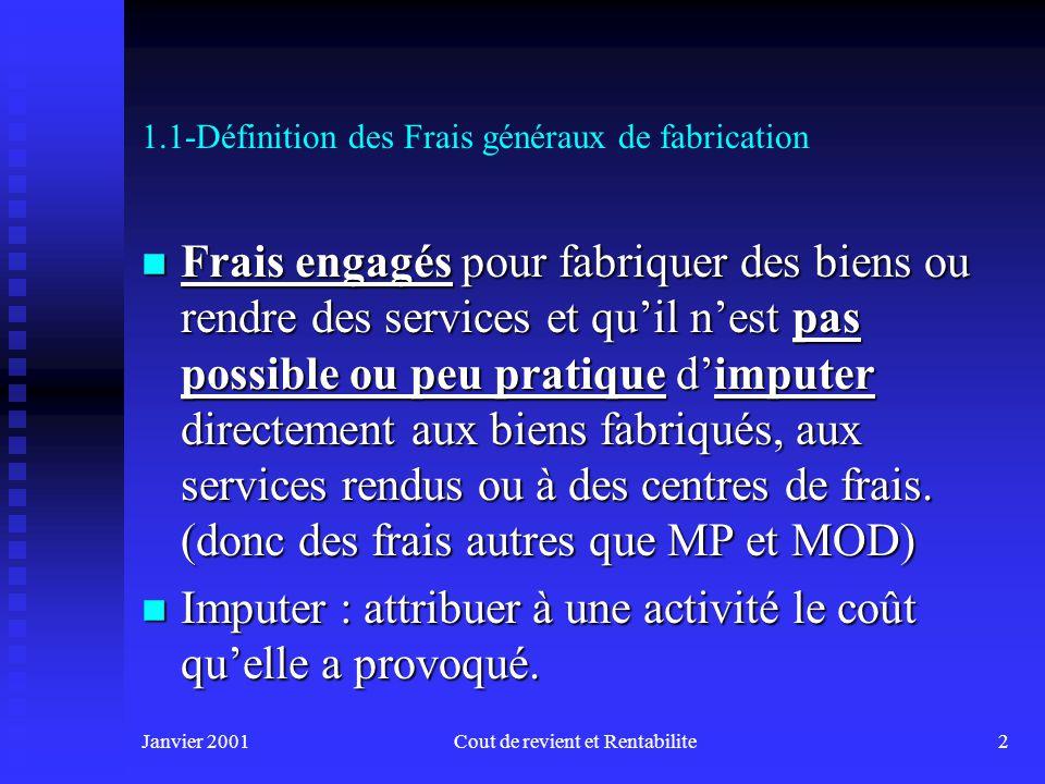 Janvier 2001Cout de revient et Rentabilite12 Atelier de production Sections auxiliaires Imputation Répartition Affectation (par ex.
