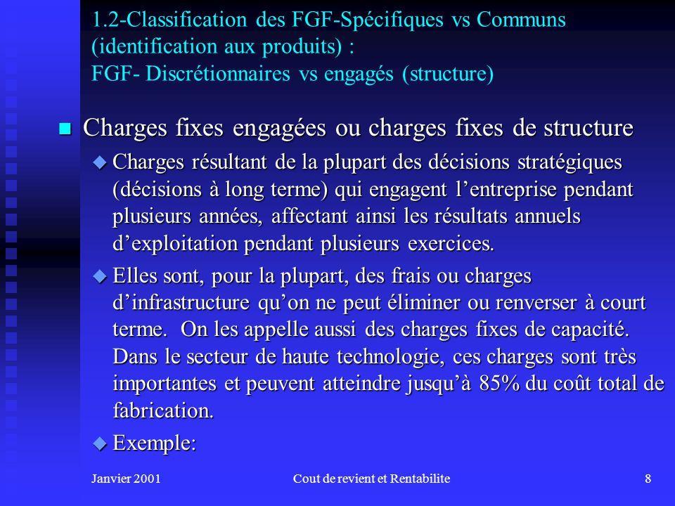 Janvier 2001Cout de revient et Rentabilite18 1.2-Traitement des FGF - Processus dimputation : répartition des coûts des services auxiliaires n Exemple dapplication :