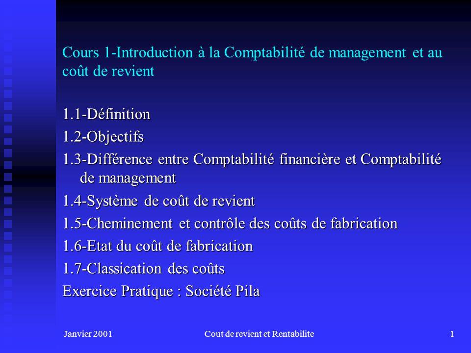 Janvier 2001Cout de revient et Rentabilite1 Cours 1-Introduction à la Comptabilité de management et au coût de revient 1.1-Définition1.2-Objectifs 1.3-Différence entre Comptabilité financière et Comptabilité de management 1.4-Système de coût de revient 1.5-Cheminement et contrôle des coûts de fabrication 1.6-Etat du coût de fabrication 1.7-Classication des coûts Exercice Pratique : Société Pila