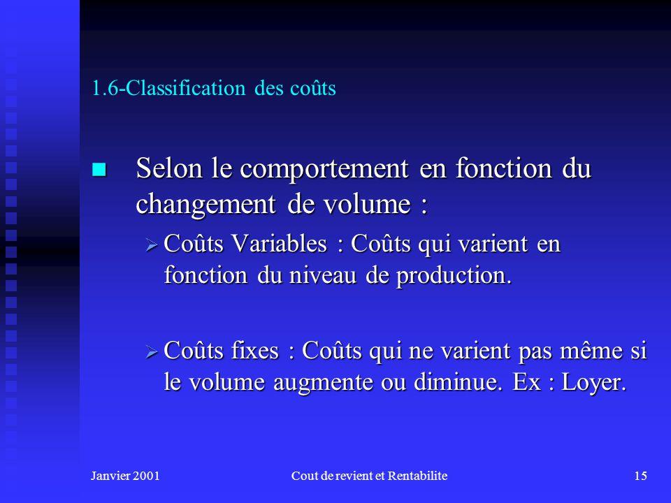 Janvier 2001Cout de revient et Rentabilite15 1.6-Classification des coûts n Selon le comportement en fonction du changement de volume : Coûts Variables : Coûts qui varient en fonction du niveau de production.