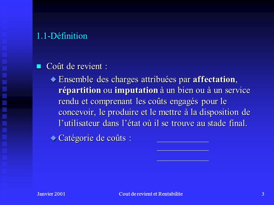 Janvier 2001Cout de revient et Rentabilite14 1.6-Classification des coûts n Par les possibilités daffectation à un objectif de mesure (produit, opération) Coûts Directs : Coûts spécifiques quon peut relier directement à notre objectif de mesure.