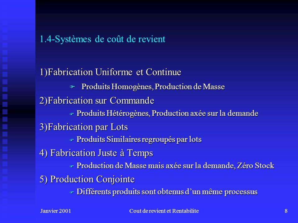 Janvier 2001Cout de revient et Rentabilite8 1.4-Systèmes de coût de revient 1)Fabrication Uniforme et Continue F Produits Homogènes, Production de Masse 2)Fabrication sur Commande F Produits Hétérogènes, Production axée sur la demande 3)Fabrication par Lots F Produits Similaires regroupés par lots 4) Fabrication Juste à Temps F Production de Masse mais axée sur la demande, Zéro Stock 5) Production Conjointe F Différents produits sont obtenus dun même processus