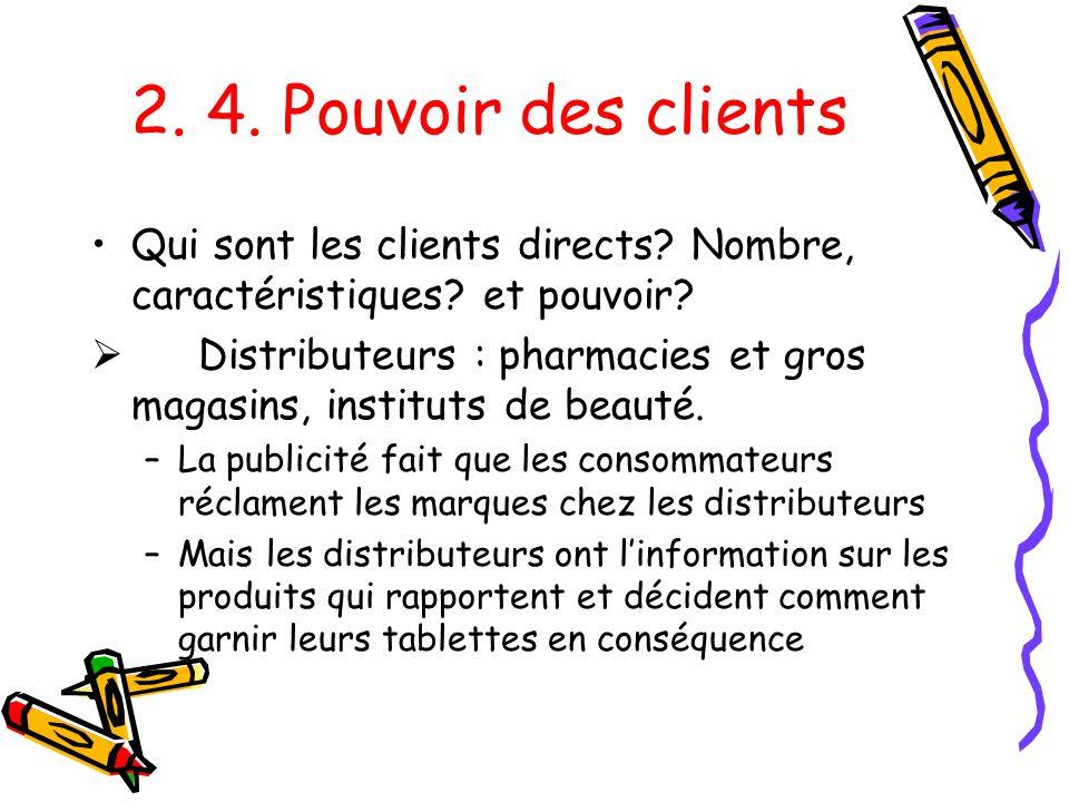 2.4. Pouvoir des clients Qui sont les clients directs.