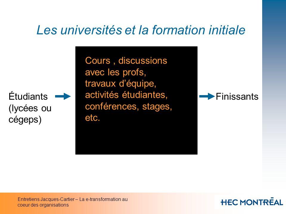 Entretiens Jacques-Cartier – La e-transformation au coeur des organisations Les universités et la formation initiale Étudiants (lycées ou cégeps) Fini