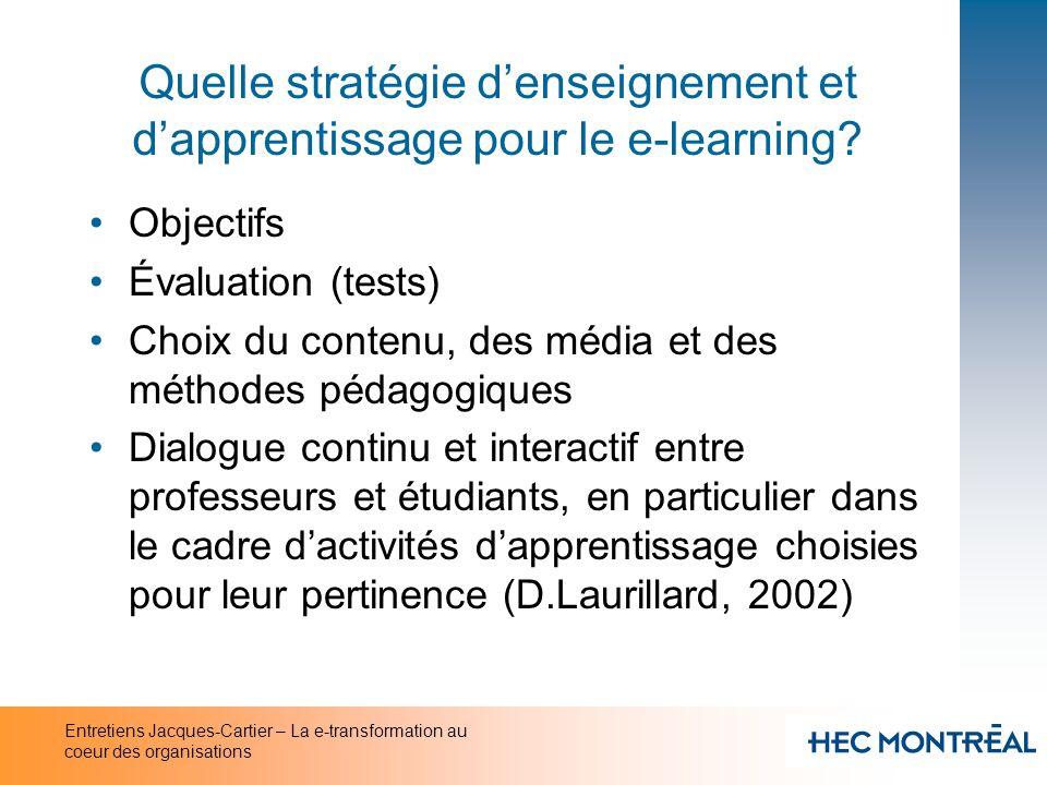 Entretiens Jacques-Cartier – La e-transformation au coeur des organisations Quelle stratégie denseignement et dapprentissage pour le e-learning? Objec