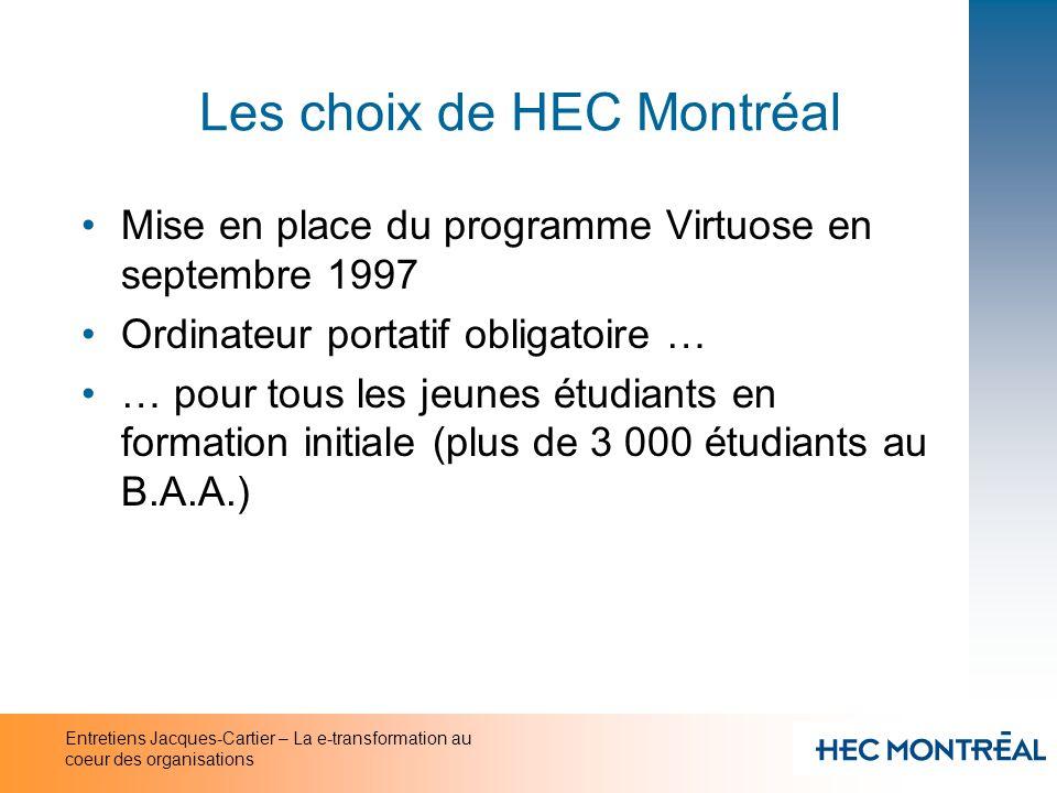 Entretiens Jacques-Cartier – La e-transformation au coeur des organisations Les choix de HEC Montréal Mise en place du programme Virtuose en septembre