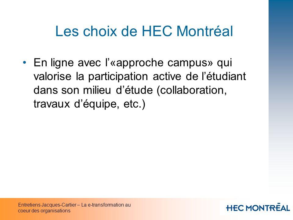 Entretiens Jacques-Cartier – La e-transformation au coeur des organisations Les choix de HEC Montréal En ligne avec l«approche campus» qui valorise la
