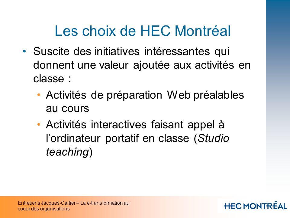 Entretiens Jacques-Cartier – La e-transformation au coeur des organisations Les choix de HEC Montréal Suscite des initiatives intéressantes qui donnen