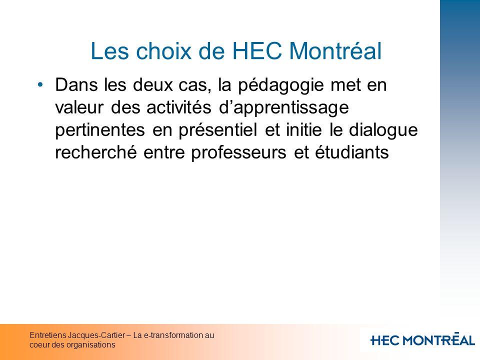 Entretiens Jacques-Cartier – La e-transformation au coeur des organisations Les choix de HEC Montréal Dans les deux cas, la pédagogie met en valeur de
