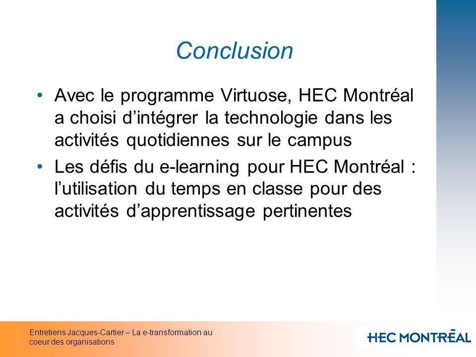 Entretiens Jacques-Cartier – La e-transformation au coeur des organisations Conclusion Avec le programme Virtuose, HEC Montréal a choisi dintégrer la
