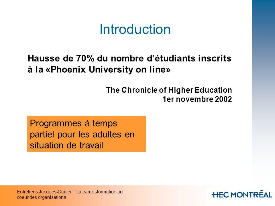 Entretiens Jacques-Cartier – La e-transformation au coeur des organisations Introduction Hausse de 70% du nombre détudiants inscrits à la «Phoenix Uni