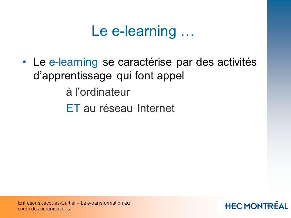 Entretiens Jacques-Cartier – La e-transformation au coeur des organisations Le e-learning … Le e-learning se caractérise par des activités dapprentiss