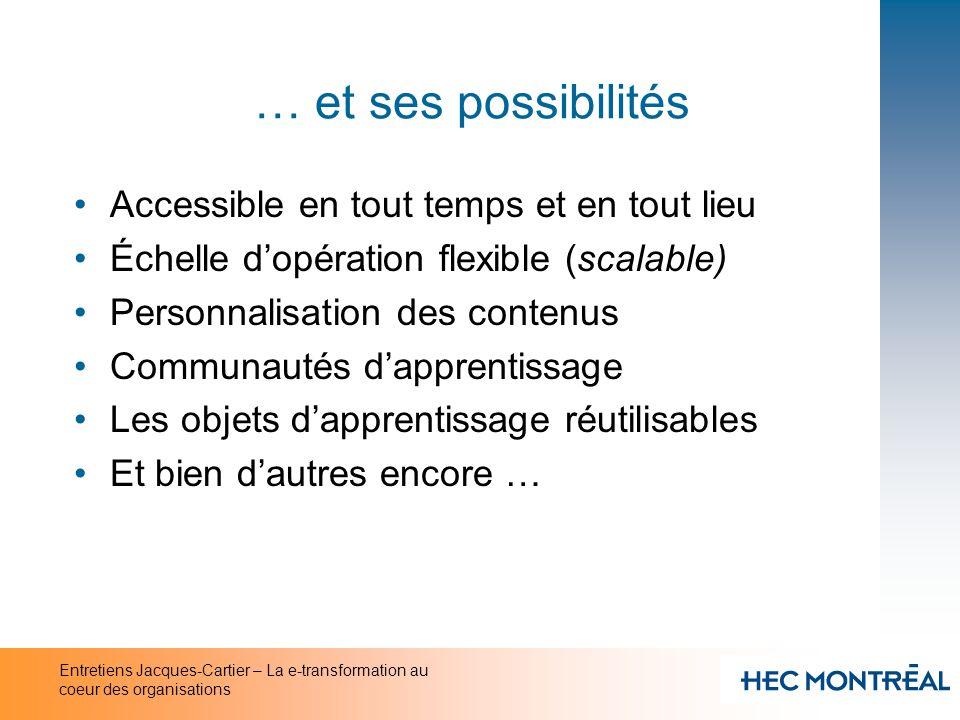 Entretiens Jacques-Cartier – La e-transformation au coeur des organisations … et ses possibilités Accessible en tout temps et en tout lieu Échelle dop