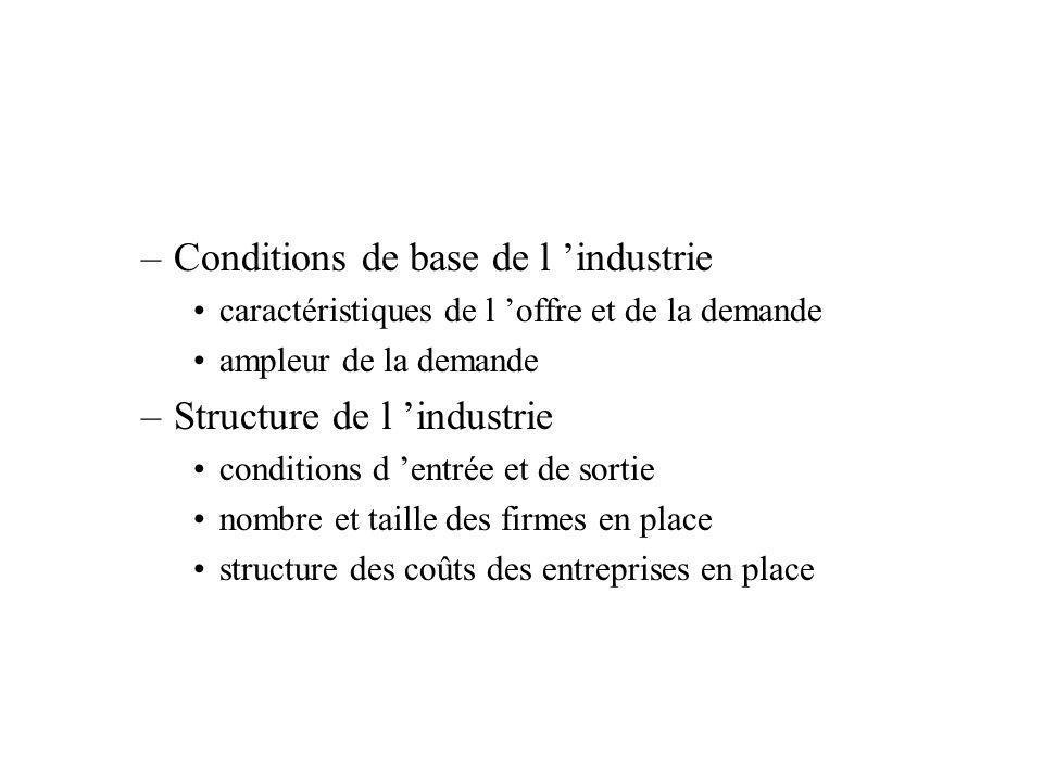 –Conditions de base de l industrie caractéristiques de l offre et de la demande ampleur de la demande –Structure de l industrie conditions d entrée et