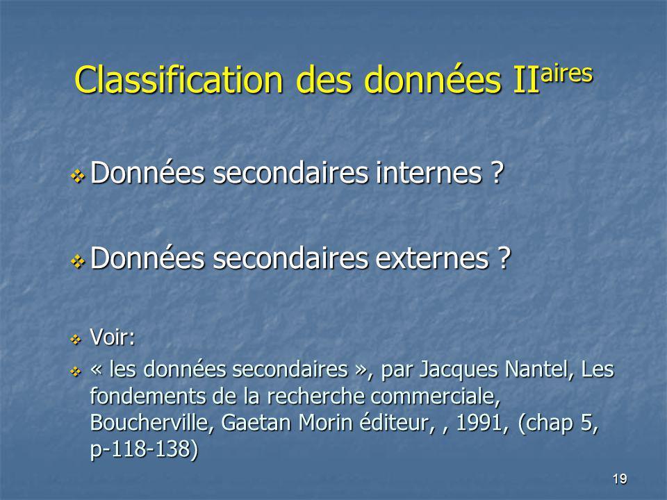 19 Classification des données II aires Données secondaires internes ? Données secondaires internes ? Données secondaires externes ? Données secondaire