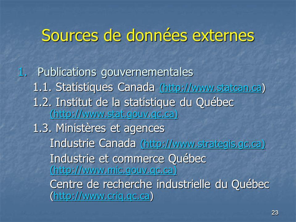 23 Sources de données externes 1.Publications gouvernementales 1.1. Statistiques Canada (http://www.statcan.ca) (http://www.statcan.ca 1.2. Institut d