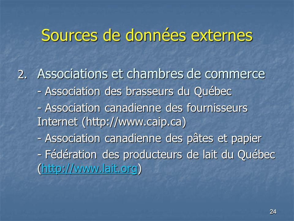 24 Sources de données externes 2. Associations et chambres de commerce - Association des brasseurs du Québec - Association canadienne des fournisseurs