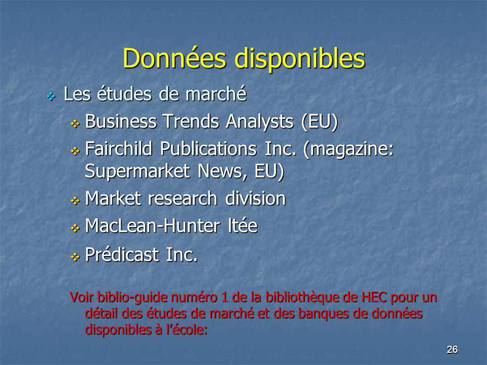 26 Données disponibles Les études de marché Les études de marché Business Trends Analysts (EU) Business Trends Analysts (EU) Fairchild Publications In