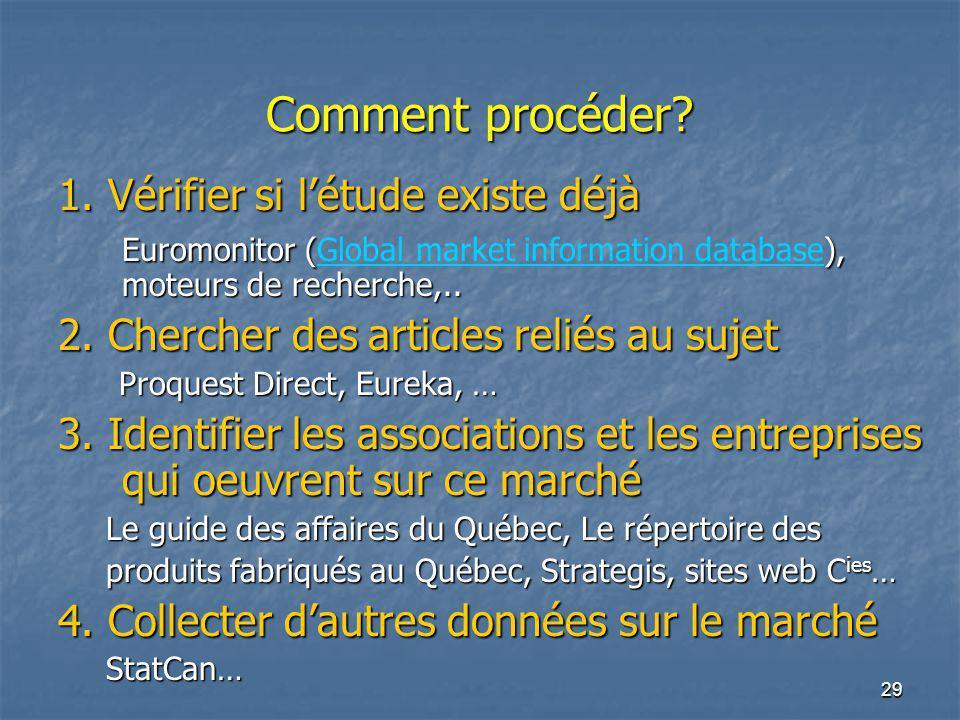 29 Comment procéder? 1. Vérifier si létude existe déjà Euromonitor (), moteurs de recherche,.. Euromonitor (Global market information database), moteu