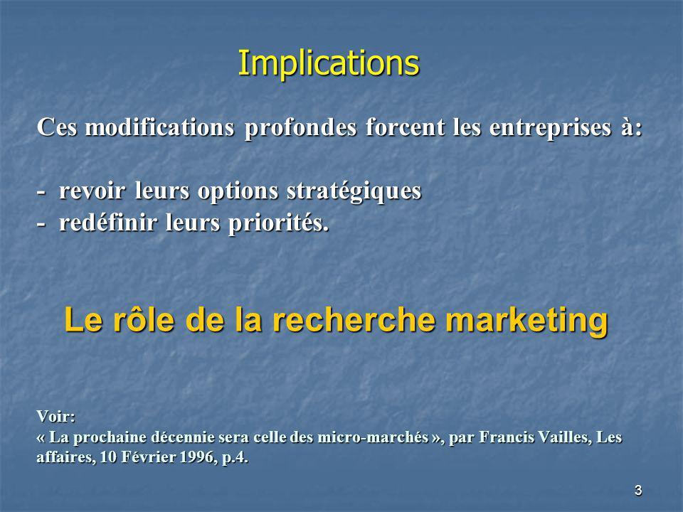 4 La recherche en Marketing La recherche en marketing comprend lensemble des activités qui visent à: définir, définir,recueillir et analyser de façon systématique des informations permettant dalimenter le processus de décision en marketing afin de le rendre plus efficace.