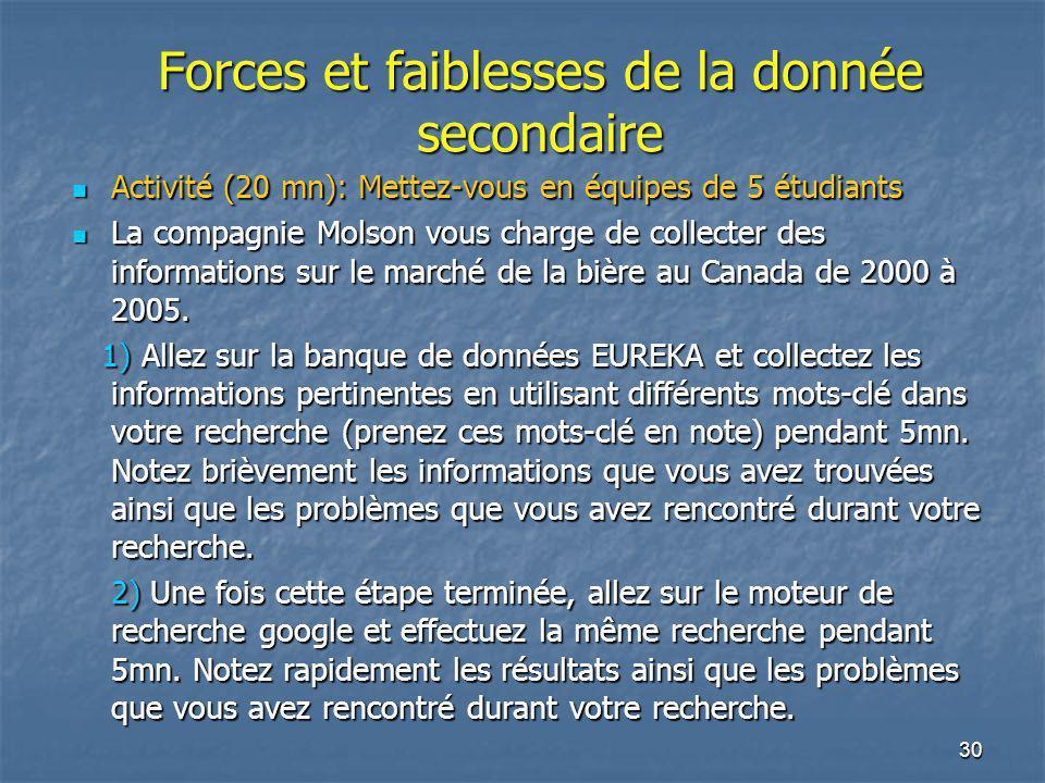 30 Forces et faiblesses de la donnée secondaire Activité (20 mn): Mettez-vous en équipes de 5 étudiants Activité (20 mn): Mettez-vous en équipes de 5 étudiants La compagnie Molson vous charge de collecter des informations sur le marché de la bière au Canada de 2000 à 2005.