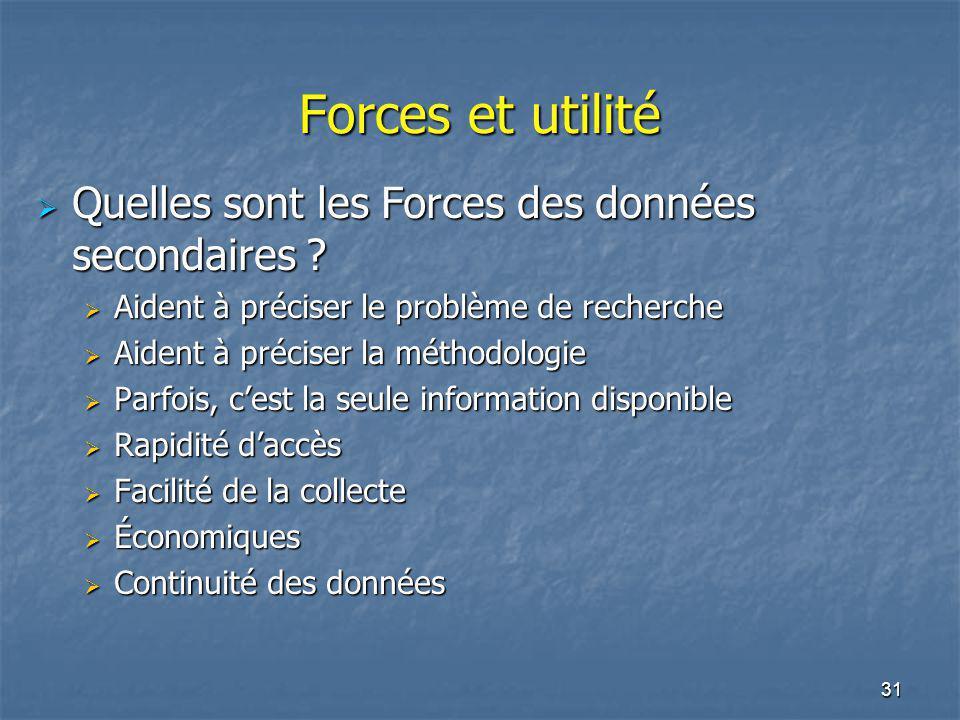 31 Forces et utilité Quelles sont les Forces des données secondaires ? Quelles sont les Forces des données secondaires ? Aident à préciser le problème