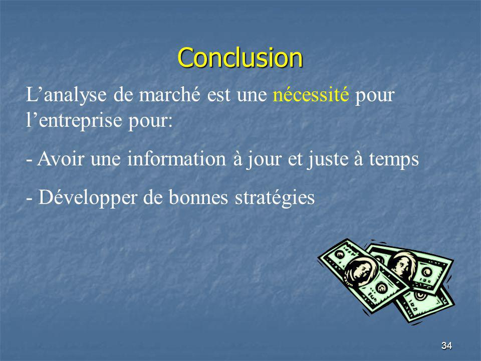 34 Conclusion Lanalyse de marché est une nécessité pour lentreprise pour: - Avoir une information à jour et juste à temps - Développer de bonnes strat