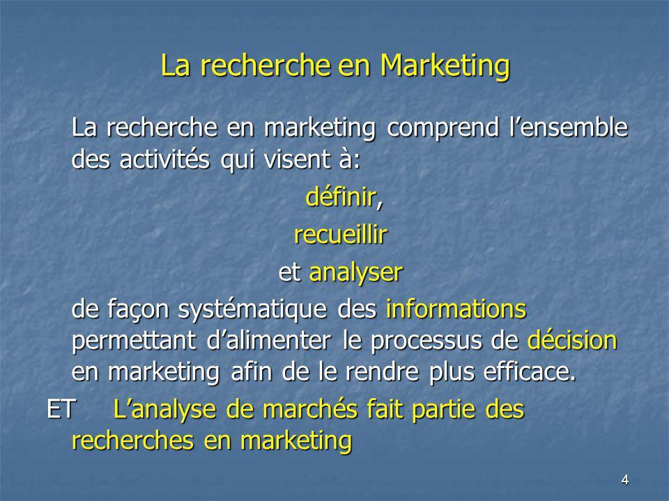 4 La recherche en Marketing La recherche en marketing comprend lensemble des activités qui visent à: définir, définir,recueillir et analyser de façon