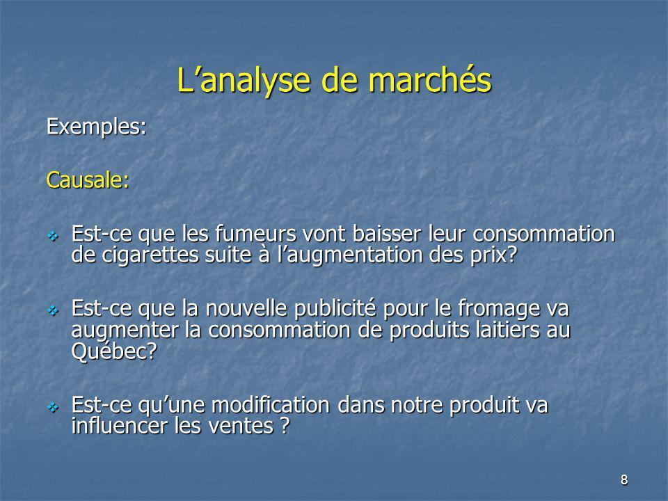 8 Lanalyse de marchés Exemples:Causale: Est-ce que les fumeurs vont baisser leur consommation de cigarettes suite à laugmentation des prix? Est-ce que