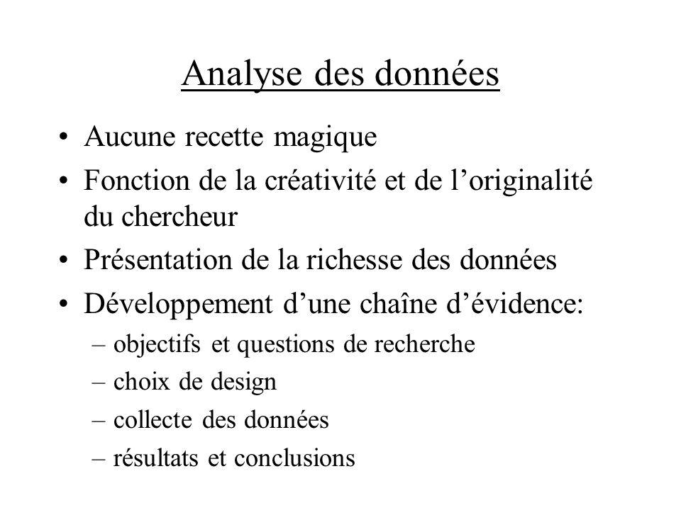 Analyse des données Aucune recette magique Fonction de la créativité et de loriginalité du chercheur Présentation de la richesse des données Développe