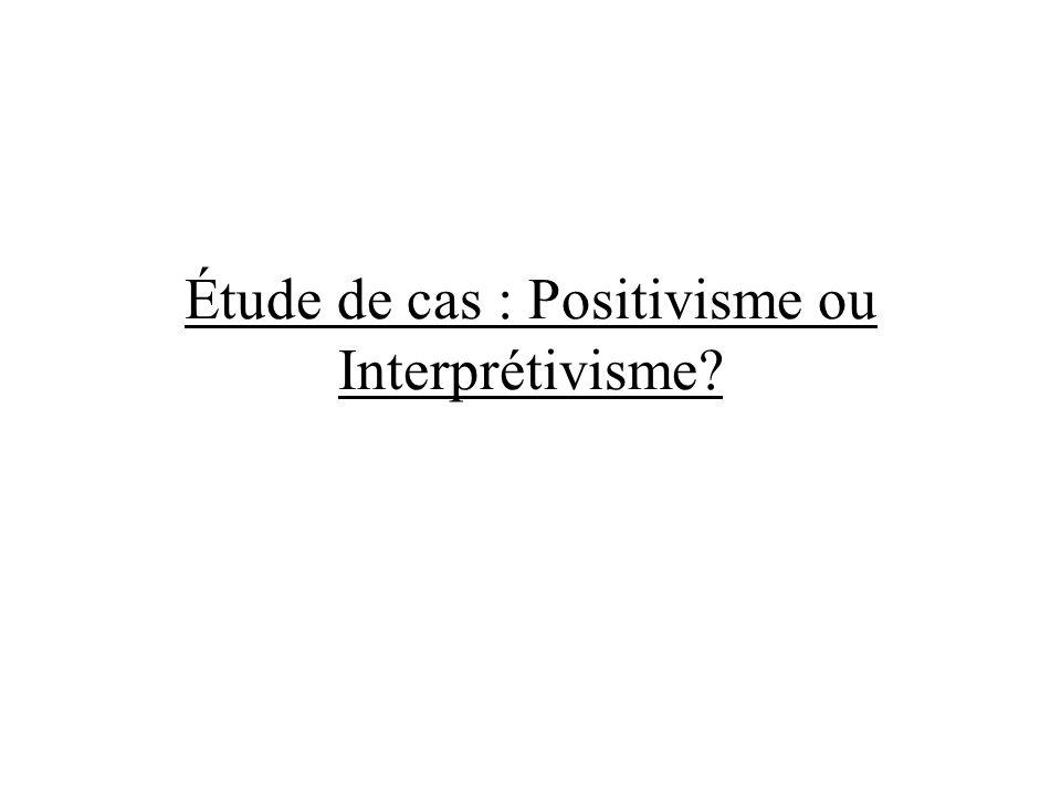 Étude de cas : Positivisme ou Interprétivisme