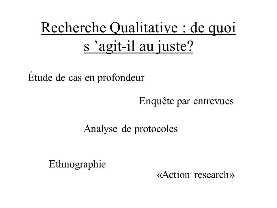 Recherche Qualitative : de quoi s agit-il au juste? Étude de cas en profondeur Enquête par entrevues Analyse de protocoles «Action research» Ethnograp
