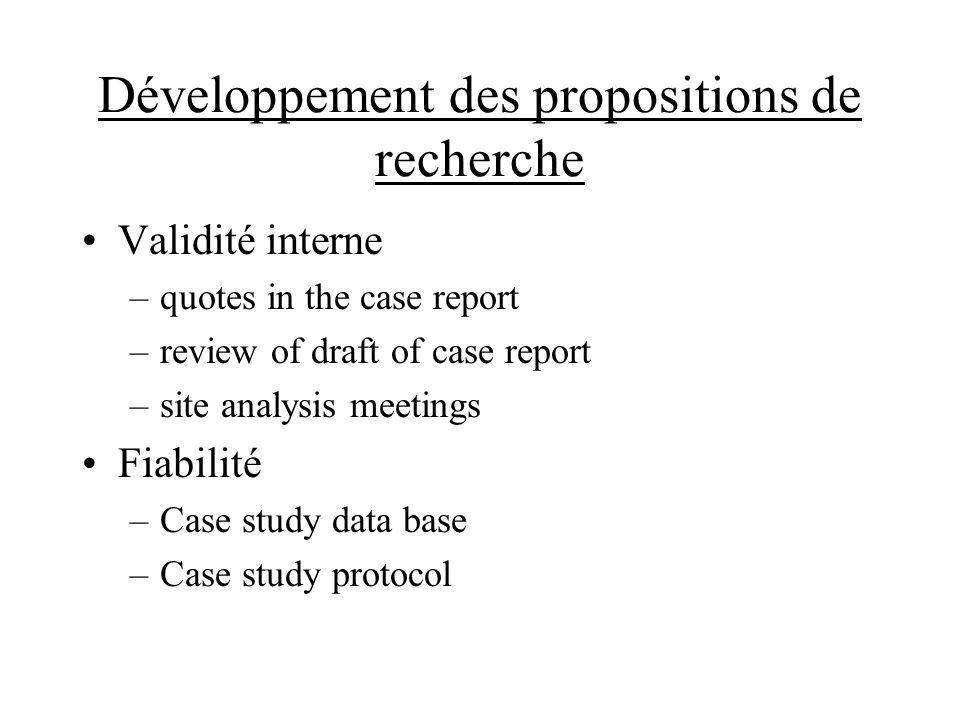 Développement des propositions de recherche Validité interne –quotes in the case report –review of draft of case report –site analysis meetings Fiabilité –Case study data base –Case study protocol