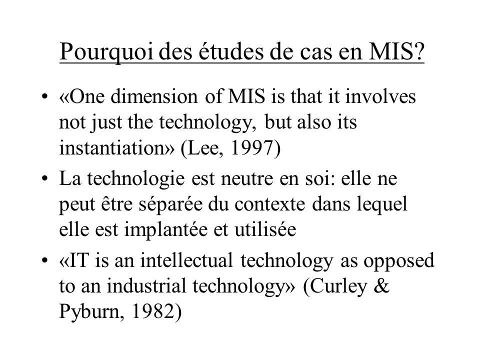 Pourquoi des études de cas en MIS? «One dimension of MIS is that it involves not just the technology, but also its instantiation» (Lee, 1997) La techn