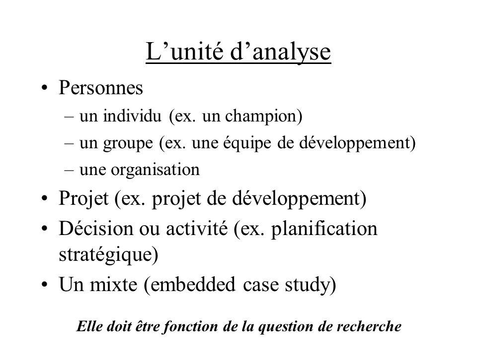 Lunité danalyse Personnes –un individu (ex. un champion) –un groupe (ex.