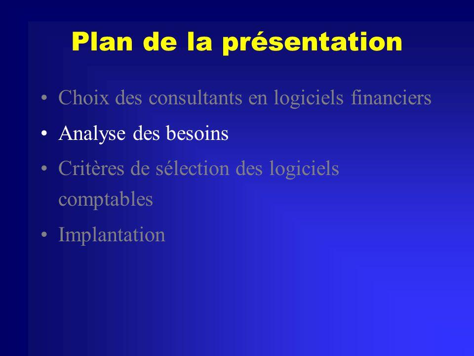 Plan de la présentation Choix des consultants en logiciels financiers Analyse des besoins Critères de sélection des logiciels comptables Implantation