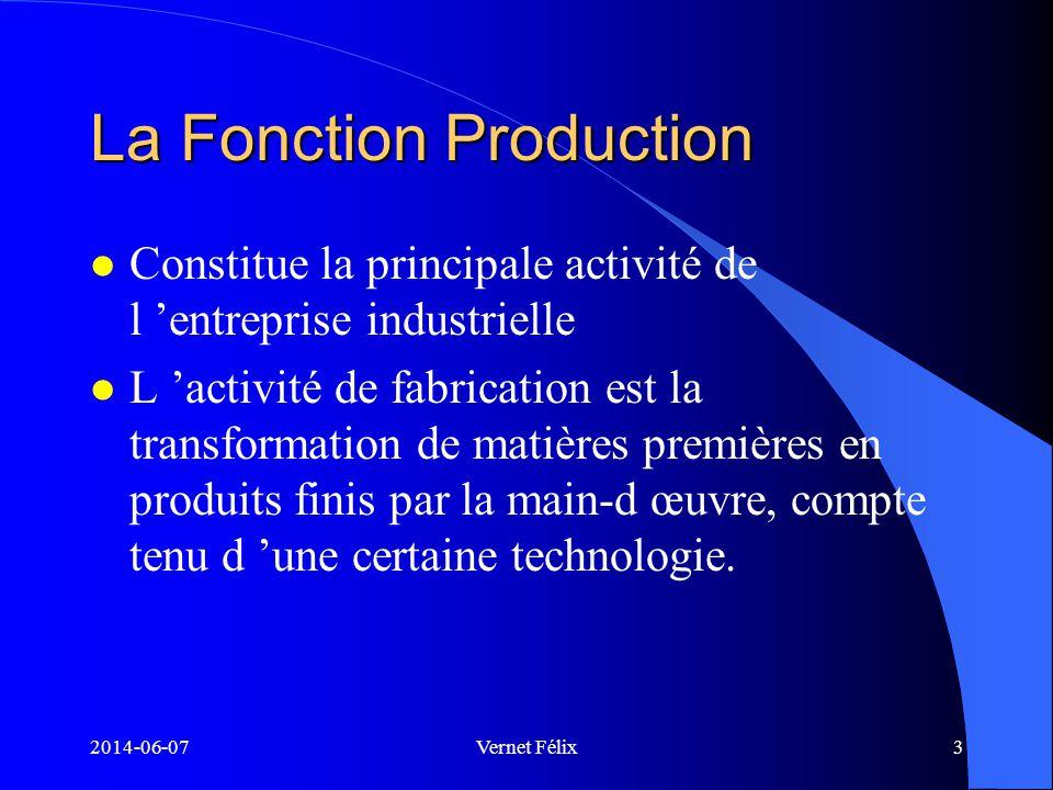 2014-06-07Vernet Félix4 Le coût de fabrication Comprend 3 éléments: l la Matière première l la main-dœuvre directe l les frais généraux de fabrication
